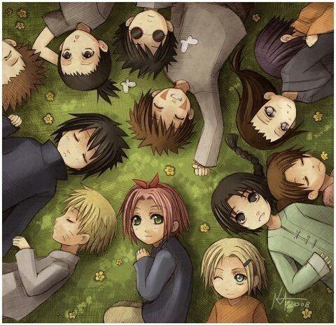 Sakura, Naruto, Sasuke, Chouji, Shikamaru, Shino, Kiba, Hinata, Neji, Ten Ten, Lee et Ino