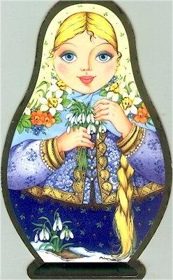 Russian Folk Art Needlepoint Canvas Nesting Doll Matroshka 4