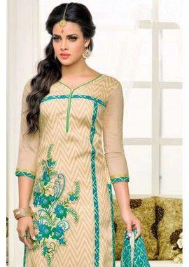 Cream Chanderi Churidar Suit, - £27.00, #OnlineDresses #FashionUK #DesignerSuit #Shopkund
