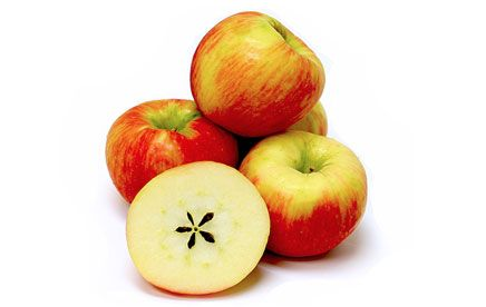 Honeycrisp apples have a yellow background covered with a