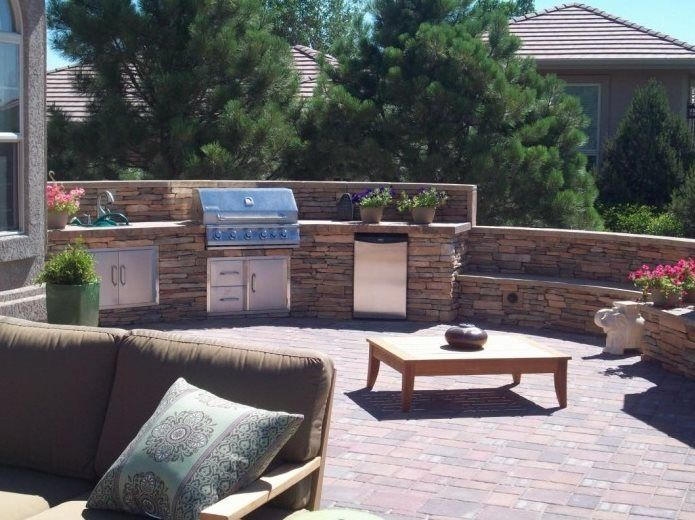Outdoor Kitchen Colorado Springs Co Photo Gallery Landscaping Network Terraced Backyard Built In Bbq Backyard