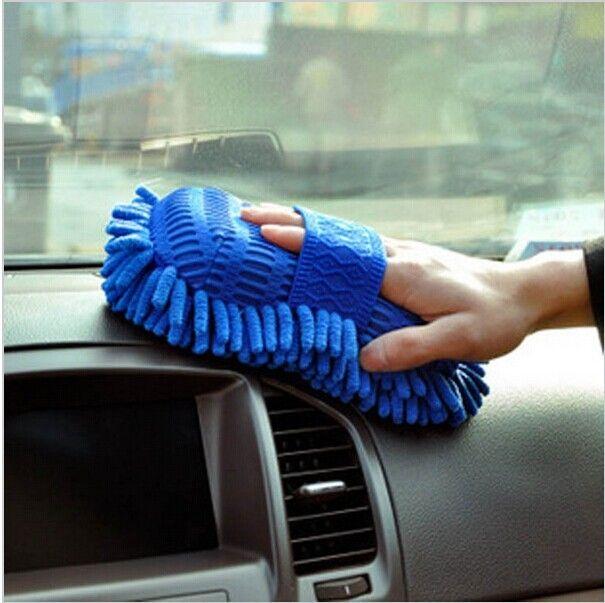 Microfiber Auto Royalblue Soft  Fiber Car Chenille Anthozoan Washable Handy Gloves High Quality Sponge