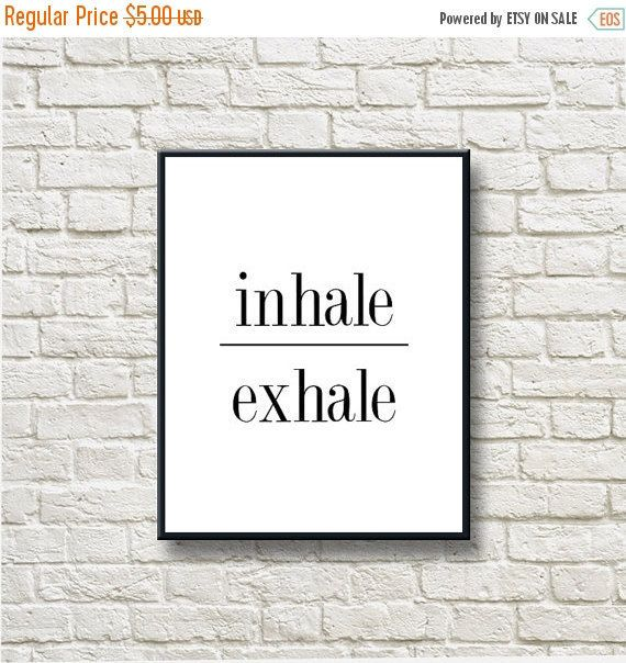 50%OFF Inhale Exhale Meditation Black White by DNgraphics on Etsy