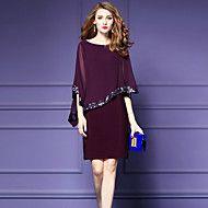 Chiffon Vestito Da donna-Per uscire Taglie forti Moda città Collage Rotonda Al ginocchio Mezze maniche Nylon Estate A vita medio-alta