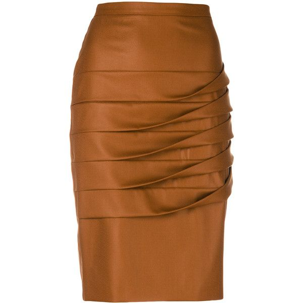 Marco De Vincenzo pleated detail pencil skirt ($313) ❤ liked on Polyvore featuring skirts, bottoms, marco de vincenzo, brown, pleated pencil skirt, pleated skirt, pencil skirts and brown skirt