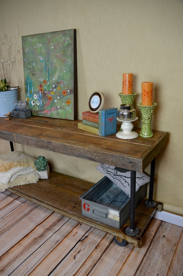 Vintage Industrial Reclaimed Barn Board & Steel Wheel Base Console Table