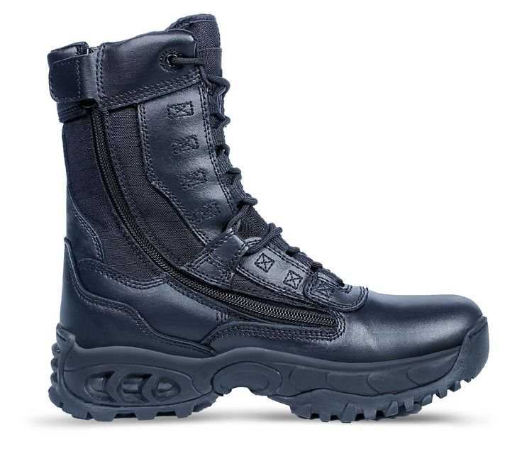 Ridge Footwear The Ghost with Zipper Steel Toe 8 inch Black Leather Boot Item # 8010ST
