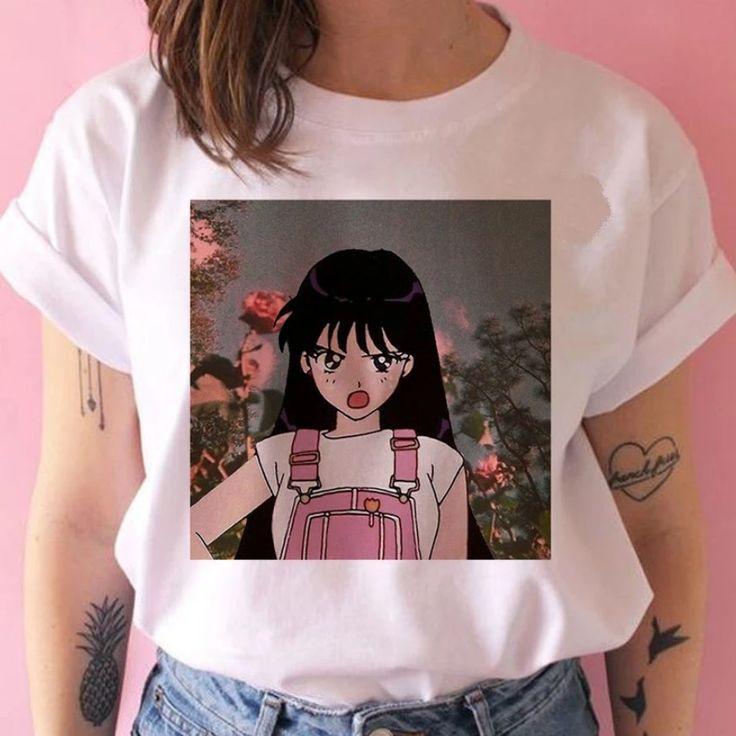 Buy online anime tshirt sailor moon harajuku