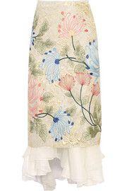 BIYAN Mirea embroidered brocade and silk-organza midi skirt