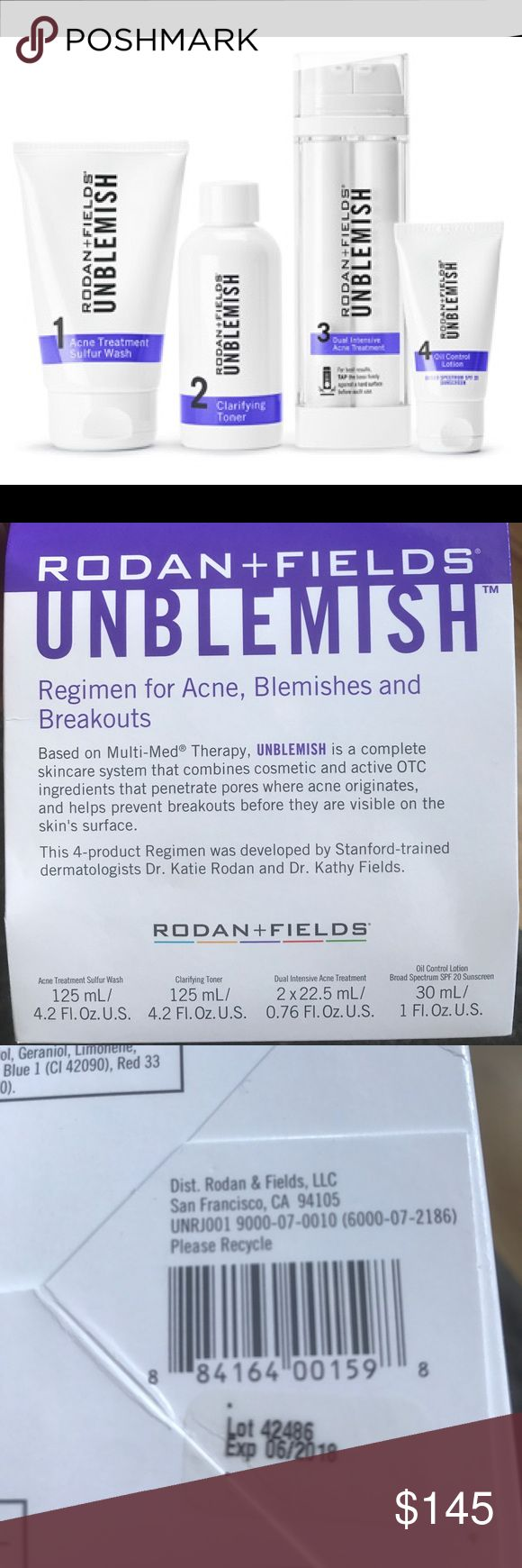 Rodan and Fields Unblemish regimen Rodan and Field New regimen sealed, full size.  Exp. Date is  6/2018.  Rodan and Fields is currently the number 1 premiere skin care in the US and Canada w/ no paid advertising.  I cant rave about their products enough.  I have seen this product change lives for people that suffered with adult acne.  Also all R&F regimens are anti-aging, made by the same doctors who created Proactive.  60 day supply Rodan and Fields Other
