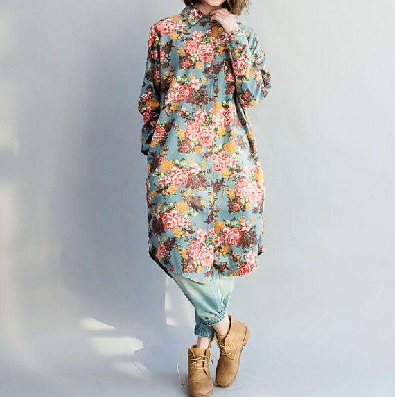 Camicia lunga romanza / Beige / Blu / scuro la luce blu di MaLieb