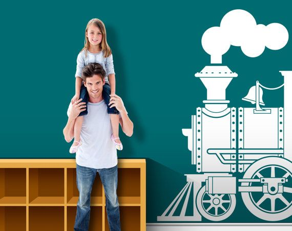 Old Time Steam Engine Vinyl Wall Decal A Great Focal Element For A Train Themed