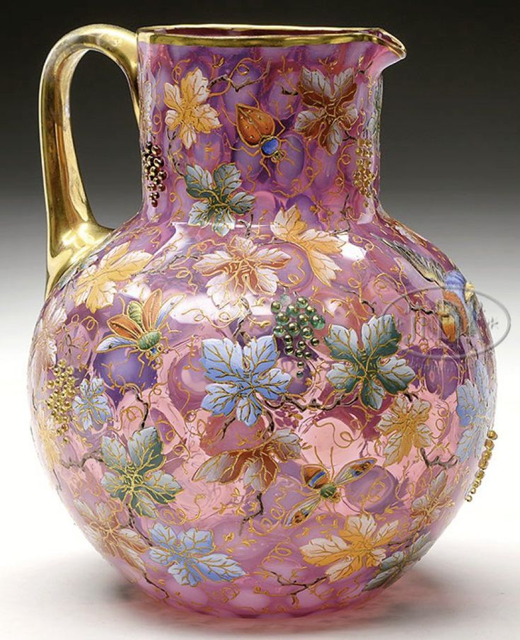 Exceptional vintage Bohemian richly enamelled and gilt cranberry glass pitcher by Moser