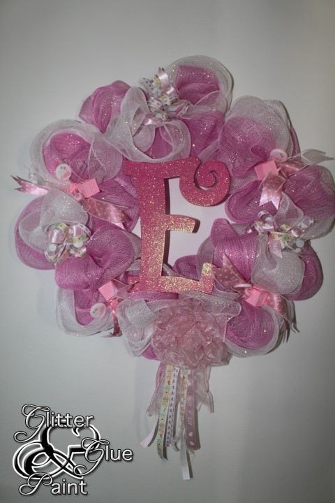 Baby Girl Wreaths for Hospital Door | ... mesh baby wreath to hang on the door to announce baby emery is here