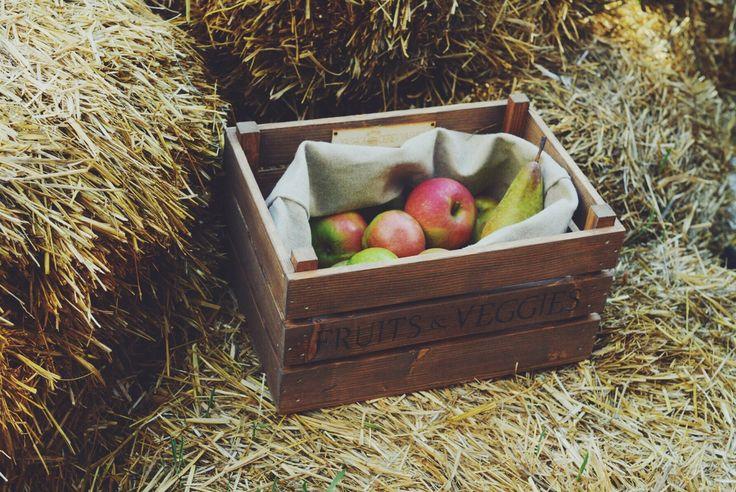Деревянный ящик для хранения фруктов и овощей с льняным мешочком. Сосна, лен. | «Ламбада-маркет»