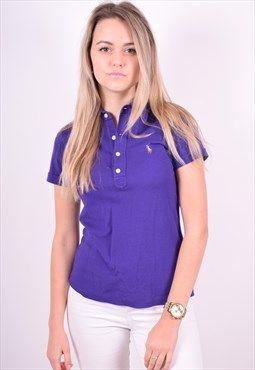 Ralph Lauren Womens Vintage Polo Shirt Size 12 Purple 90's
