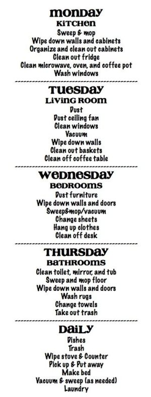 cleaning schedule by mvaleria