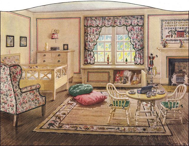 A wonderfully elegant admittedly rather grand 1920s Vintage childrens room decor