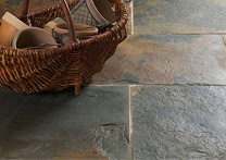 rustic slate floor. Love it! With radiant heat underneath would be fab!