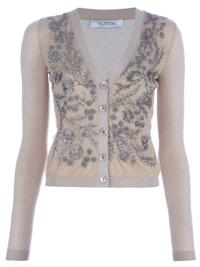 Champagne silk-cashmere blend cardigan from Valentino.