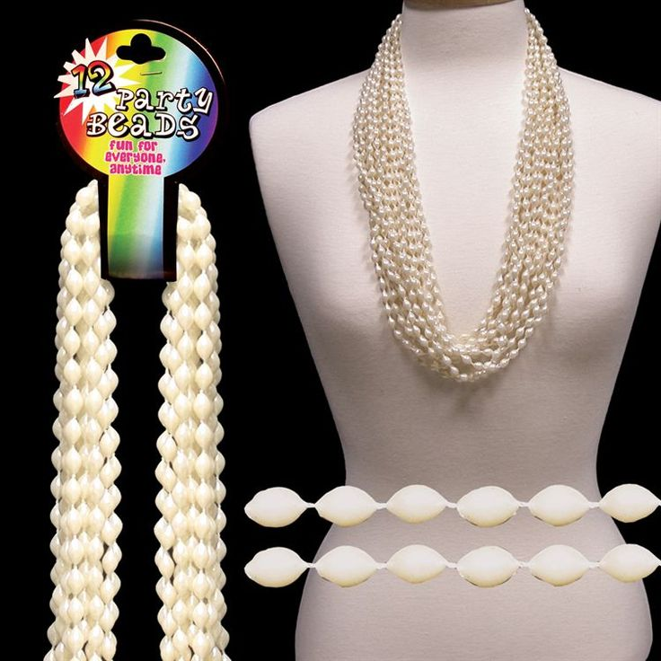 """Pearl White Bead Necklaces-33""""-12 Pack 