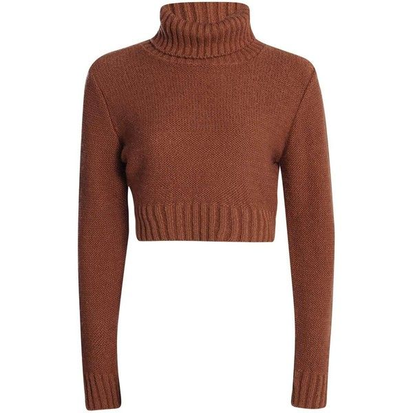 Nicole Turtle Neck Crop Jumper ($26) ❤ liked on Polyvore featuring tops, sweaters, crop top, shirts, jumpers sweaters, brown turtleneck sweater, turtle neck tops, brown turtleneck and brown tops