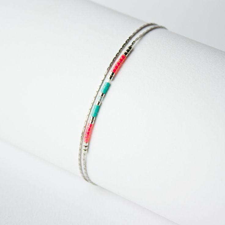 bracelet chaine et perles MIYUKI / bleu turquoise, bleu ciel , rose : Bracelet par tadaam-bijoux