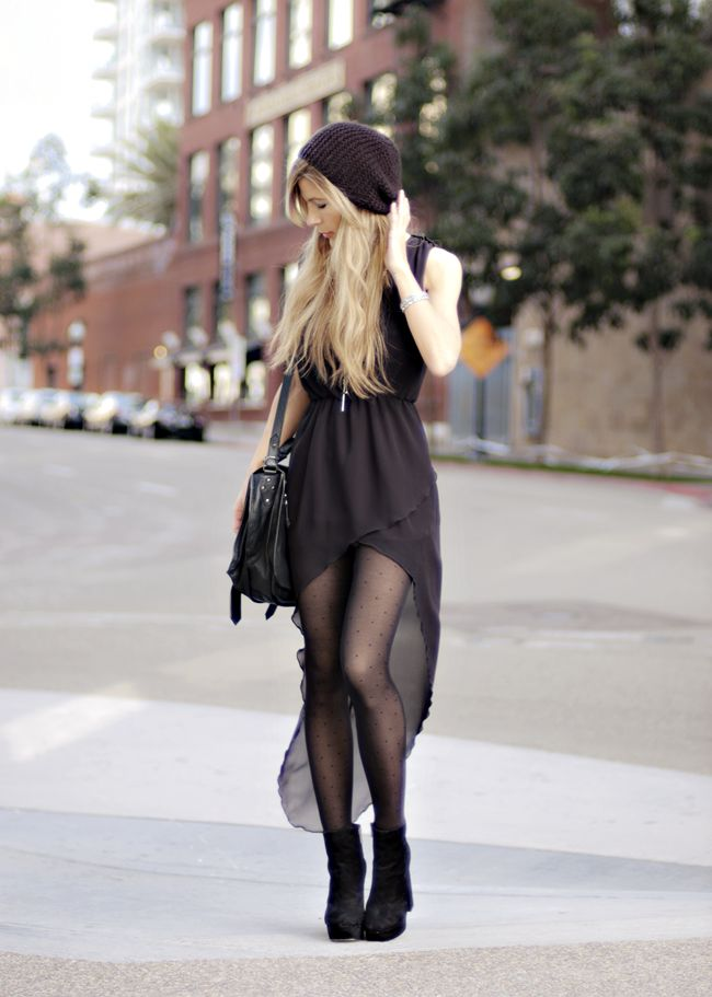 Beanie - H&M, Layered Cross Necklace - By Celina, Dress - Love, PS1 Bag - Proenza Schouler, Boots - Dolce Vita