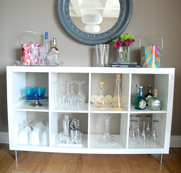 IKEA hack! Use the EXPEDIT shelf for a home bar www.sugarplumsisters.com