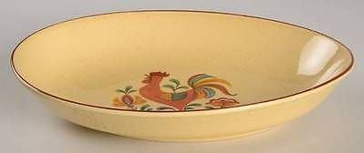 Taylor Smith & T (TS&T) Reveille (Red Trim) 9 Oval Vegetable Bowl, Fine China Dinnerware - Red Trim, Rooster