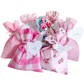 Pink/Shabby Chic Assorted Fabric Party Bag & Gift Tag