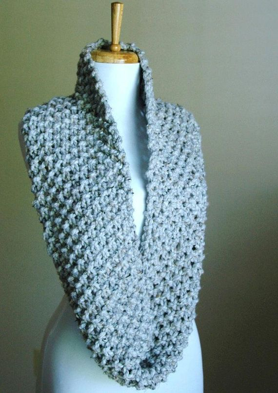 Gray Marble Knit Infinity Scarf Chunky Scarf Hand Knit
