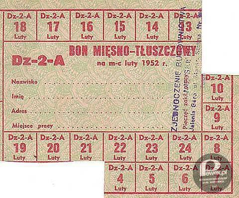 Bon mięsno-tłuszczowy – Z lutego 1952 roku.