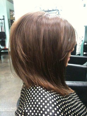 long bob .... Cute cut if you want to shorten up the hair w/out really going short - @Danielle Lampert Lampert Lampert Lampert Lampert Lampert Ostrand this cut would look sooooo good on you. Love the bangs and slight stack!