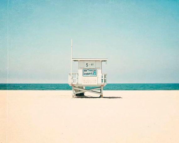 5e rue, Hermosa Beach en Californie, plage photographie, tour de sauveteur, en Californie, côtières sticker, vert-bleu sarcelle