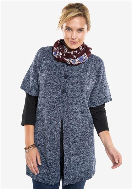 Crewneck cardigan with short sleeves, marled yarn | Plus Size Cardigans | Woman Within