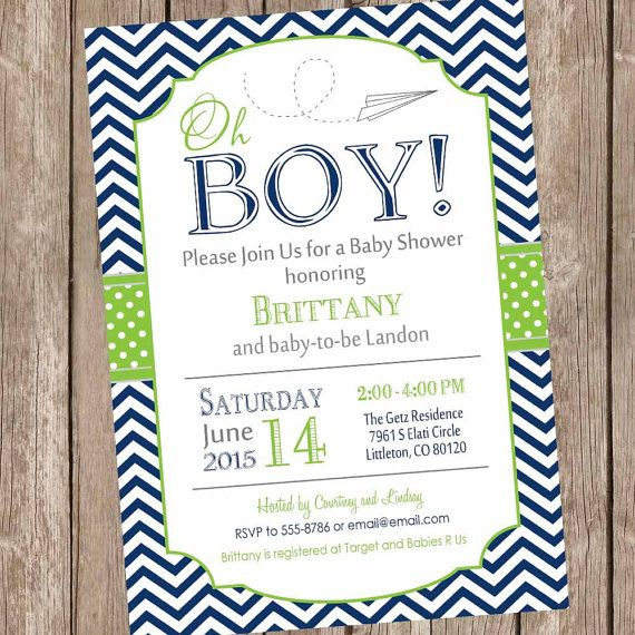 Paper airplane baby shower invitation navy and by ModernBeautiful