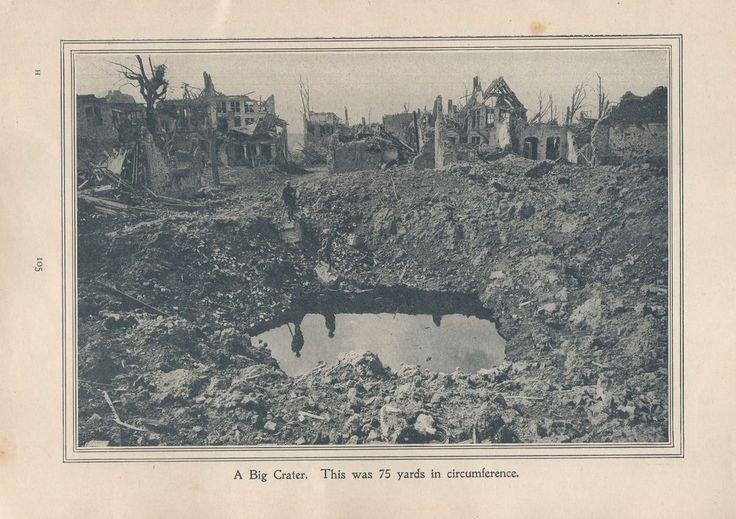 "Original 1917 Anzac Print-Antique Vintage ""A big crater. This was 75 yards in ci"