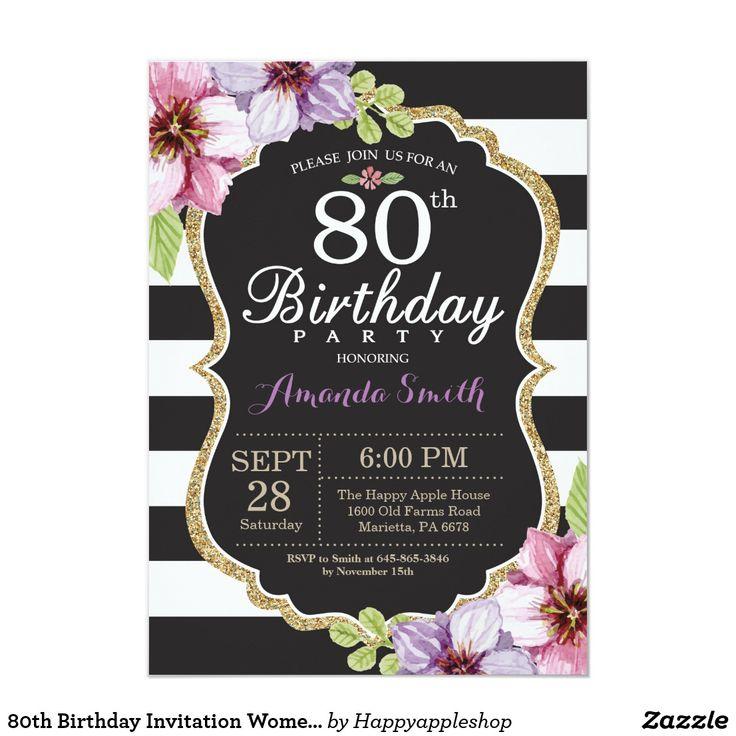 80th Birthday Invitation Women. Floral Gold Black Zazzle