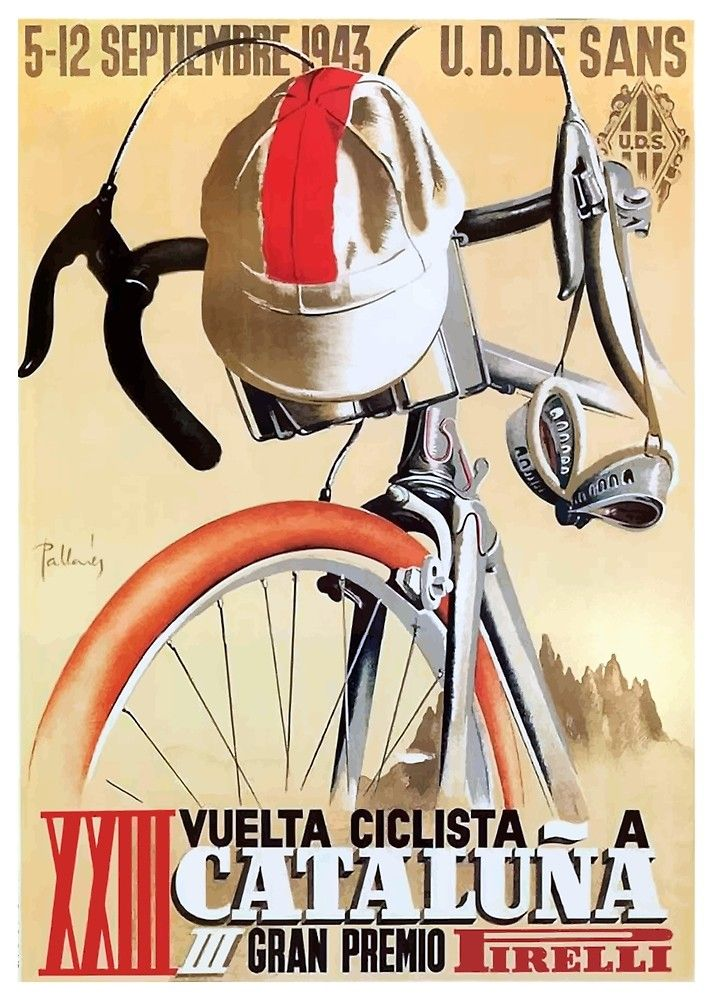 1943 Spain Tour of Catalonia Bicycle Race Poster by retrographics