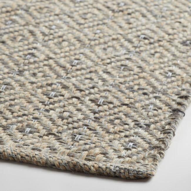 Gray Metallic Woven Jute Alden Area Rug - World Market 6x9 $199