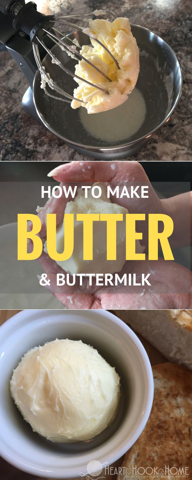 Homemade Butter (and Buttermilk!) Using a Kitchen Mixer http://hearthookhome.com/homemade-butter-and-buttermilk-with-kitchenaid-mixer/?utm_campaign=coschedule&utm_source=pinterest&utm_medium=Ashlea%20K%20-%20Heart%2C%20Hook%2C%20Home&utm_content=Homemade%20Butter%20%28and%20Buttermilk%21%29%20Using%20a%20Kitchen%20Mixer