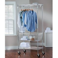 Grey Modern Mobile Steel Laundry Station  Contemporary Sturdy Rolling Cart with Two Adjustable Spacious Shelves and Removable Hanging bars for Air Drying  Storage and Organizer for your Clothes Towels other Garments and Sports Equipment >>> Learn more by visiting the image link.