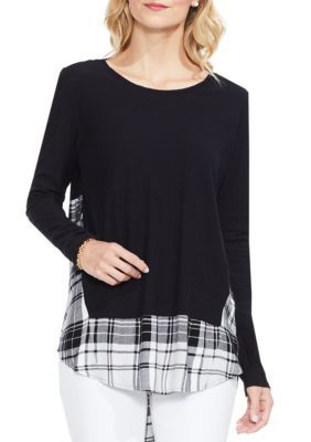 Vince Camuto Women's Mixed Media Bedford Plaid Top - Rich Black - Xs