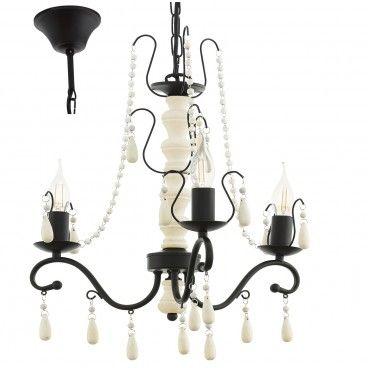 Chattisham 3 ramienny żyrandol w stylu vintage biało brązowy do sypialni salonu jadalni - LampyTanie - 349,90 PLN