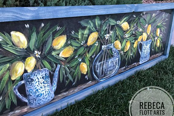 Lemons vase original window screen outdoor and indoor art