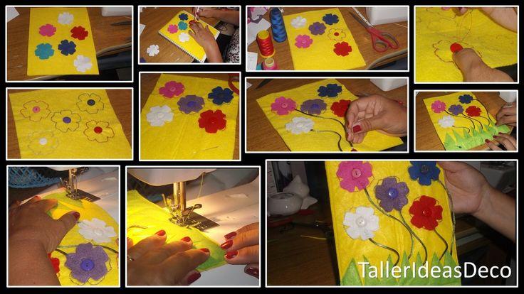 """Parte del """"Quiet Book"""", que se utiliza para que los pequeños aprendan a diferenciar colores,formas,números y a desarrollar su parte creativa"""