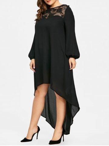 f59a1a0b5a3 Lace Panel High Low Plus Size Long Dress