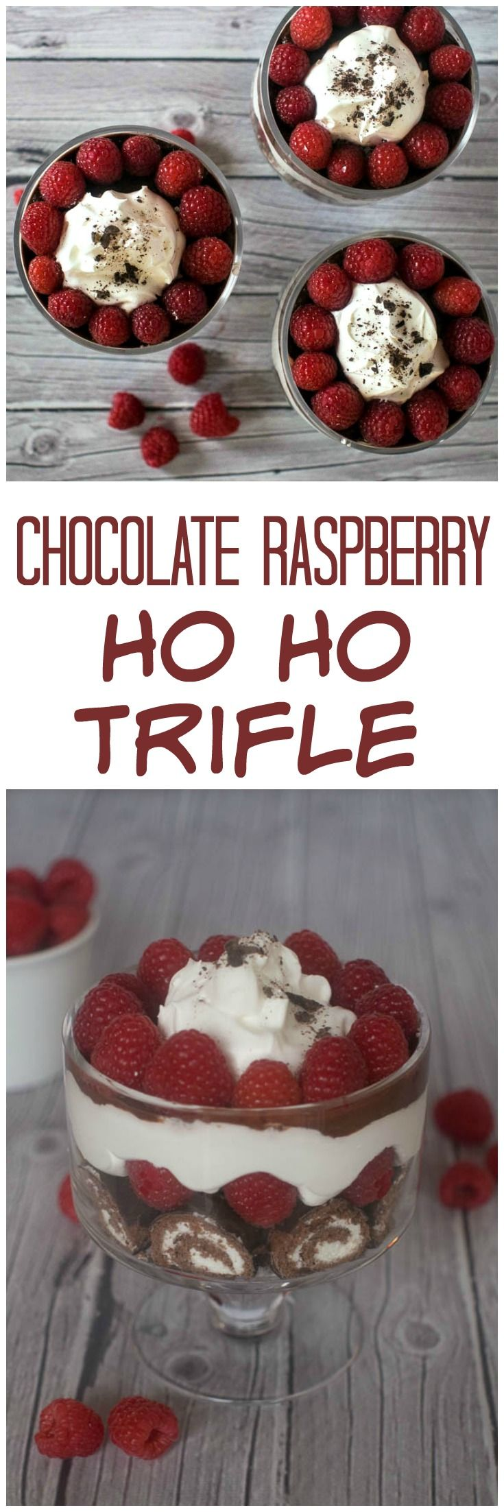 Chocolate Raspberry Ho Ho Trifle   Easy Dessert   Valentine's Day   HoHo   Trifle   15 Minute Dessert   5 Ingredient Dessert   Raspberries