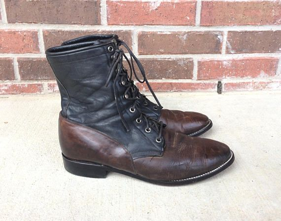 vtg 80s Mens Two Tone BLACK Brown lace up ROPER BOOTS 10